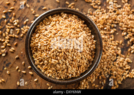Organic Raw Flax Seeds in a Bowl - Stock Photo