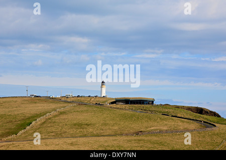 Mull of Galloway, the most southerly point in Scotland with the Mull of Galloway Lighthouse in the distance - Stock Photo