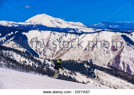 Sneaky's (ski run), Snowmass/Aspen ski resort, Snowmass Village (Aspen), Colorado USA. - Stock Photo