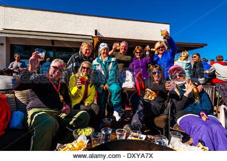 Apres ski slopeside at Venga Venga Cantina, Snowmass Village (Aspen), Colorado USA. - Stock Photo