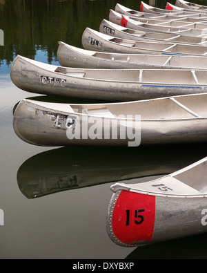 Canoes at Colter Bay Marina on Jackson Lake in Grand Teton National Park. - Stock Photo