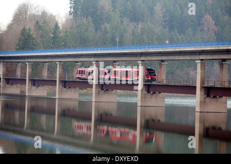 Bridge over the Biggetalsperre reservoir, Attendorn, Germany, Europe, - Stock Photo