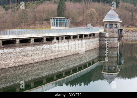 Dam of the Lister Reservoir, turbine tower at Bigge Reservoir hydroelectric power station, Olpe, Germany, Europe - Stock Photo