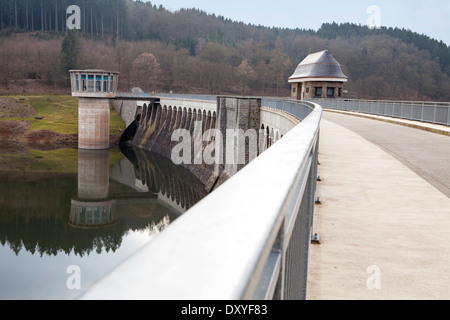 Dam of the Lister Reservoir, turbine tower at Bigge Reservoir hydroelectric power station, Olpe, Germany, Europe, - Stock Photo