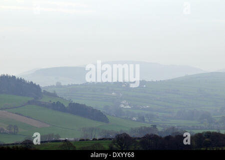 Aberystwyth, Wales, UK. 2nd April, 2014. - Mist and murk conceals the Cambrian Mountains after days of fine sunny - Stock Photo
