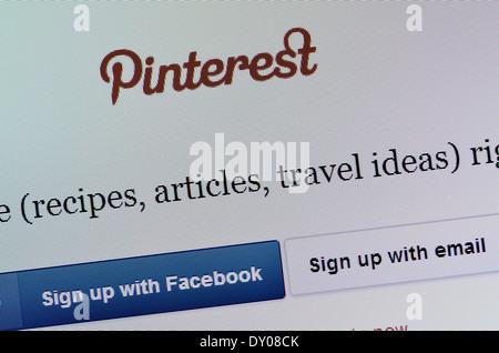 Computer screen shot - Pinterest website - Stock Photo