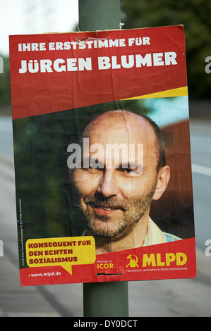 Political poster for the Marxist Leninist Party Germany - Stock Photo