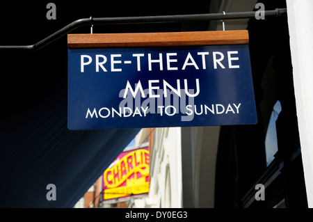 London, England, UK. Restaurant in Drury Lane offering pre-theatre menu - Stock Photo