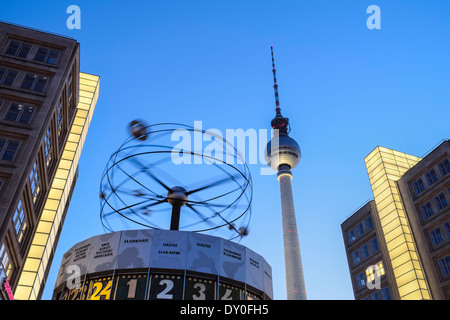 World Time Clock in front of Fernsehturm TV tower, Berlin, Germany - Stock Photo