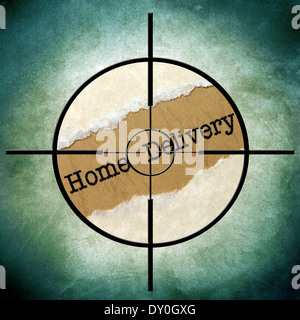 Home delivery text in target - Stock Photo