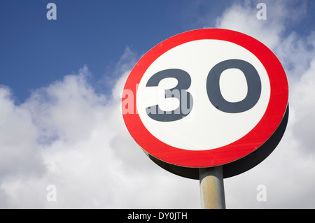 30 miles per hour mph road speed sign close up - Stock Photo