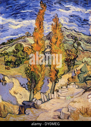 Vincent van Gogh Two Poplars on a Hill - Stock Photo