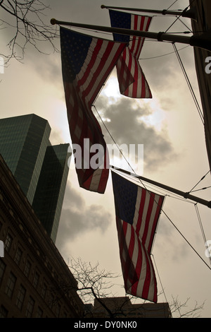 Flags in Madison Ave New York 25.03.2014 - Stock Photo