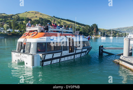 Cruise ship life boat taking passengers on a day trip from the ship to shore at Akaroa, New Zealand - Stock Photo