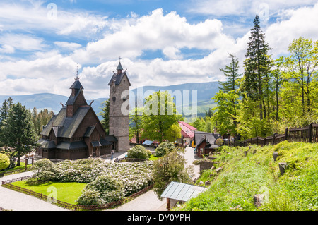 Old, wooden, Norwegian temple Wang in Karpacz, Poland - Stock Photo