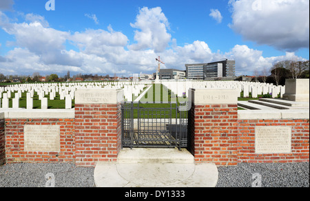 White House World War One Cemetery in Ypres, Belgium - Stock Photo