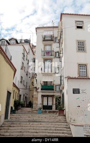 The Escadinhas de São Miguel in the Alfama district of Lisbon, (Lisboa), Portugal. - Stock Photo