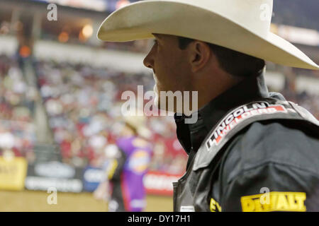 Fresno, CS, USA. 28th Mar, 2014. March 28, 2014 Fresno, CA - Professional Bull Rider Kody Lostroh in the Built Ford - Stock Photo