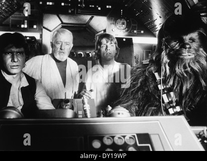 Peter Mayhew, Harrison Ford, Alec Guinness and Mark Hamill, on-set of the Film, 'Star Wars', 1977 - Stock Photo