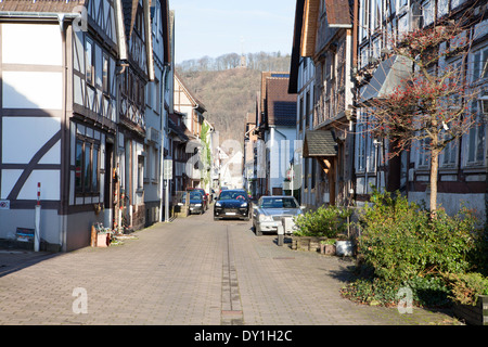 Street in Bodenwerder, Baron Muenchhausen town, Weserbergland, Lower Saxony, Germany