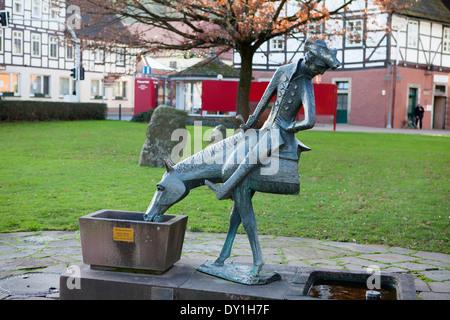 Baron Muenchhausen sculpture, Bodenwerder, Weserbergland, Lower Saxony, Germany