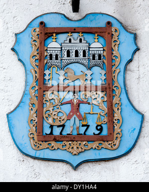 Coat of arms, Baron Muenchhausen town Bodenwerder, Weserbergland, Lower Saxony, Germany,
