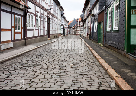 Half-timbered houses in the historic town centre, Goslar, Harz, Lower Saxony, Germany, Europe - Stock Photo