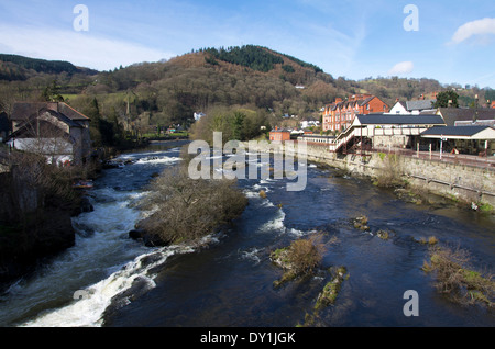 River Dee and Llangollen Railway Station - Stock Photo