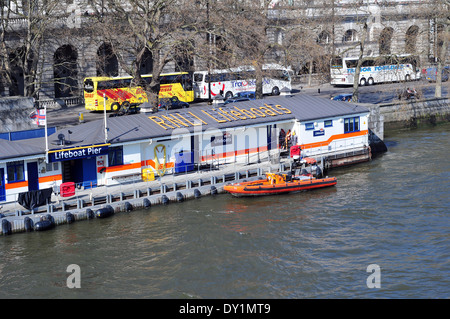 The RNLI Lifeboat Pier alongside Waterloo Bridge on the River Thames, London, England. - Stock Photo