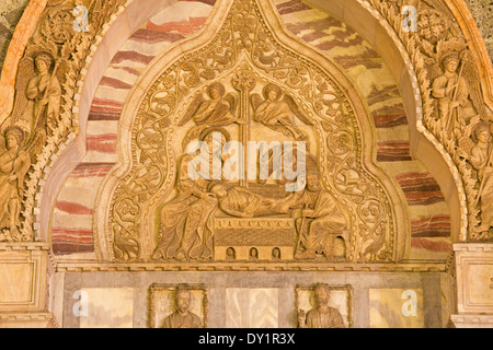 VENICE, ITALY - MARCH 11, 2014: Exterior relief of Nativity scene on the north portal from st. Mark cathedral at - Stock Photo