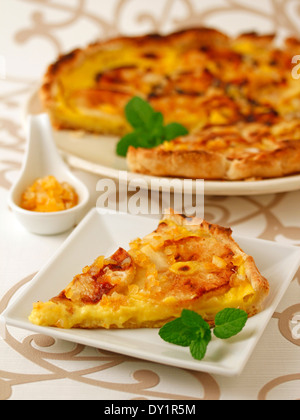 Apple tart with custard and orange. Recipe available. - Stock Photo