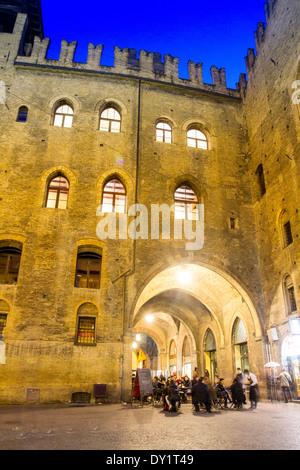 Backside of the Palazzo del Podestà, Piazza Maggiore, Bologna, Emilia Romagna, Italy - Stock Photo