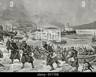 Russo-Japanese War (1904-1905). Landing of Japanese troops in Chemulpo. Engraving. - Stock Photo