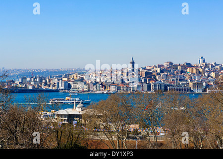 View from Mecidiye Kosku terrace in Fourth Court of Topkapi Palace looking over the Golden Horn to Galata, Istanbul,Turkey - Stock Photo