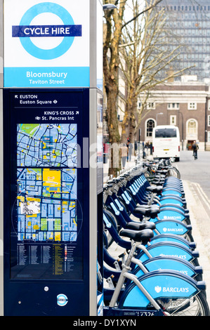 Royalty free stock photo of one of the cycle hire point in London. - Stock Photo
