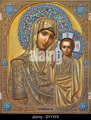 Venice - Icon of Madonna with the child from Russian town Kazan in church of San Martino of Saint Martin on Burano - Stock Photo