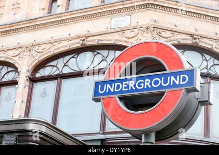 London Underground Logo By Knightsbridge, London - Stock Photo