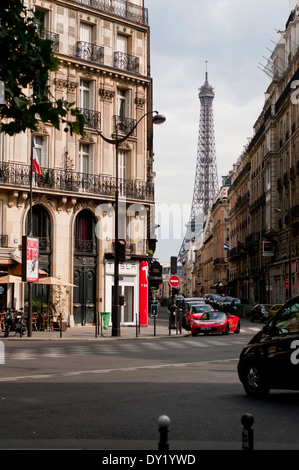Eiffel Tower View from side streets in Paris, Daytime - Stock Photo