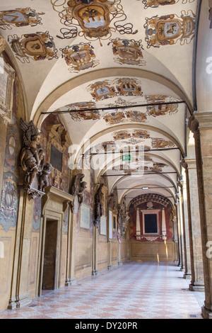 BOLOGNA, ITALY - MARCH 15, 2014: External atrium of Archiginnasio - Stock Photo