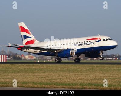 G-EUPB British Airways Airbus A319-131, landing at Schiphol (AMS - EHAM), Netherlands, pic3 - Stock Photo