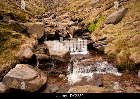 Fair Brook running off the northern slopes of Kinder Scout in the Peak District National Park. - Stock Photo