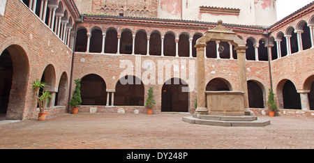 BOLOGNA, ITALY - MARCH 16, 2014: Atrium in st. Stephen or Santo Stefano churches complex. - Stock Photo