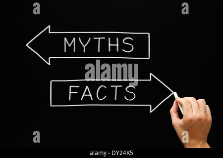Hand sketching Myths or Facts concept with white chalk on blackboard. - Stock Photo