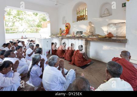 Anuradhapura, Sri Lanka. Buddhists praying at the Sri Maha Bodhi temple - Stock Photo