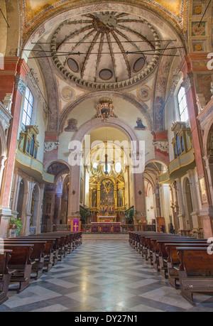 BOLOGNA, ITALY - MARCH 17, 2014: Main nave of San Giacomo Maggiore. - Stock Photo