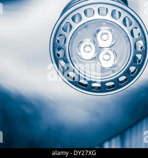 Close up led spot light, tinted black and white image - Stock Photo