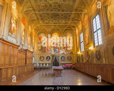 BOLOGNA, ITALY - MARCH 17, 2014: Sacristy of baroque church San Michele in Bosco. - Stock Photo