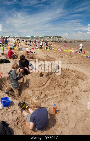 UK, England, Lancashire, Morecambe, beach, Sandcastle Festival competitors - Stock Photo