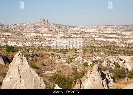 landscape and uchisar village, cappadocia, anatolia, turkey, asia - Stock Photo