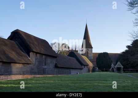St. John the Evangelist Church at Ickham, Kent; in early morning sunlight. - Stock Photo